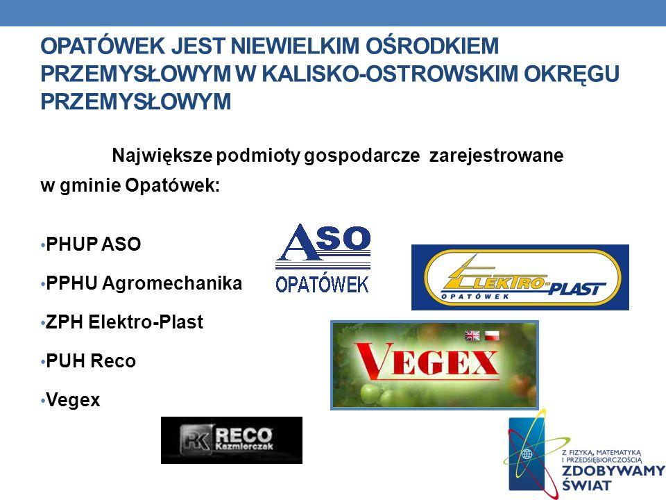 OPATÓWEK JEST NIEWIELKIM OŚRODKIEM PRZEMYSŁOWYM W KALISKO-OSTROWSKIM OKRĘGU PRZEMYSŁOWYM Największe podmioty gospodarcze zarejestrowane w gminie Opató