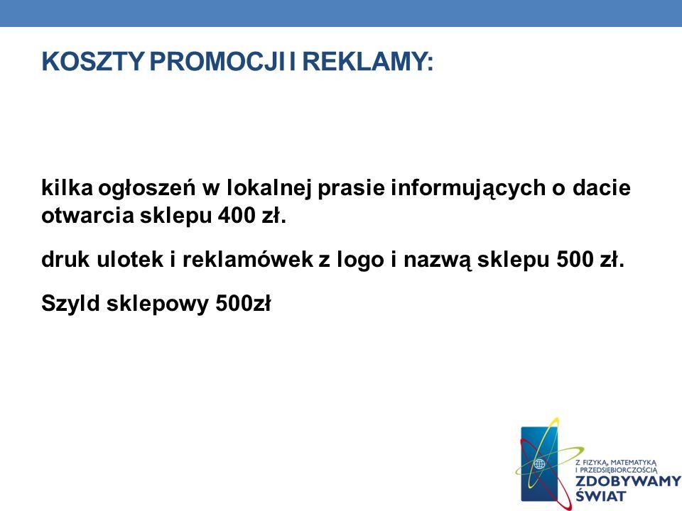 KOSZTY PROMOCJI I REKLAMY: kilka ogłoszeń w lokalnej prasie informujących o dacie otwarcia sklepu 400 zł. druk ulotek i reklamówek z logo i nazwą skle