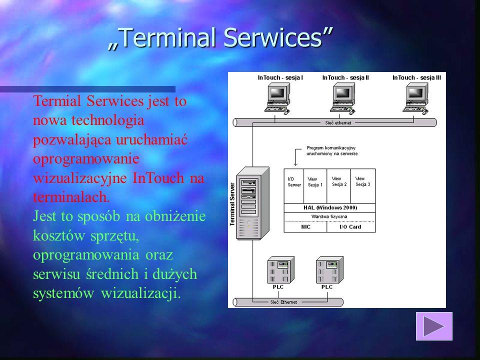 Terminal Serwices Termial Serwices jest to nowa technologia pozwalająca uruchamiać oprogramowanie wizualizacyjne InTouch na terminalach.
