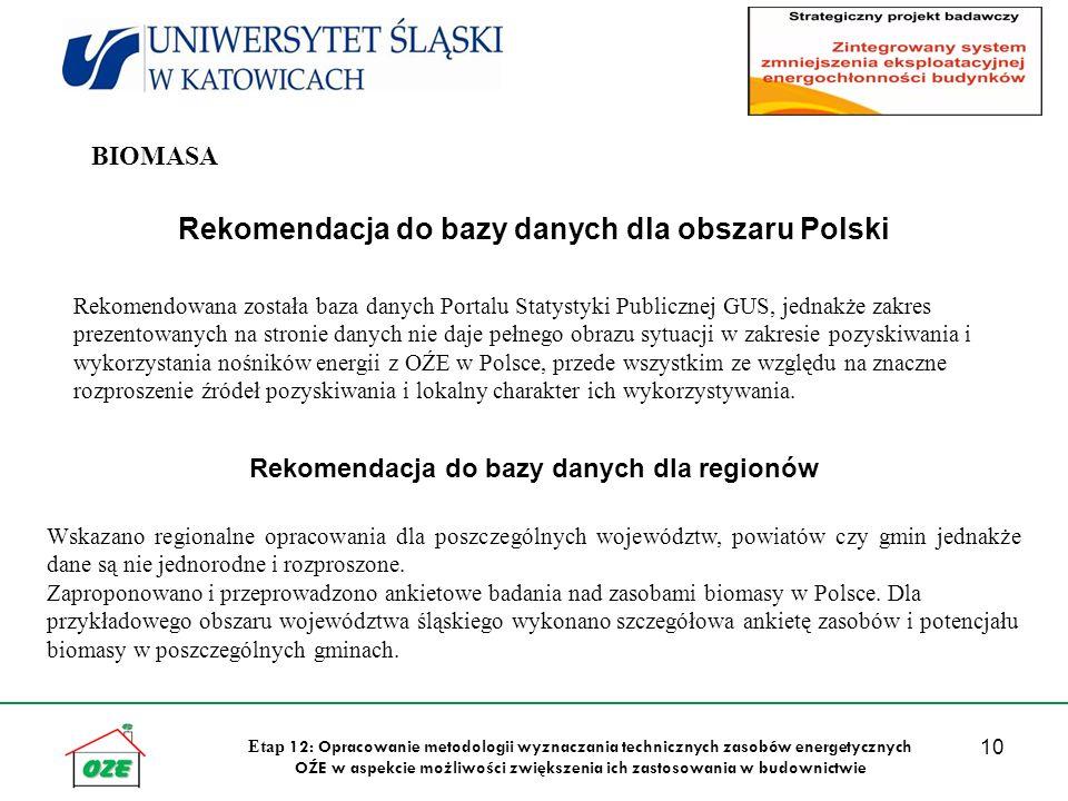 10 Etap 12: Opracowanie metodologii wyznaczania technicznych zasobów energetycznych OŹE w aspekcie możliwości zwiększenia ich zastosowania w budownictwie Rekomendacja do bazy danych dla obszaru Polski Rekomendowana została baza danych Portalu Statystyki Publicznej GUS, jednakże zakres prezentowanych na stronie danych nie daje pełnego obrazu sytuacji w zakresie pozyskiwania i wykorzystania nośników energii z OŹE w Polsce, przede wszystkim ze względu na znaczne rozproszenie źródeł pozyskiwania i lokalny charakter ich wykorzystywania.