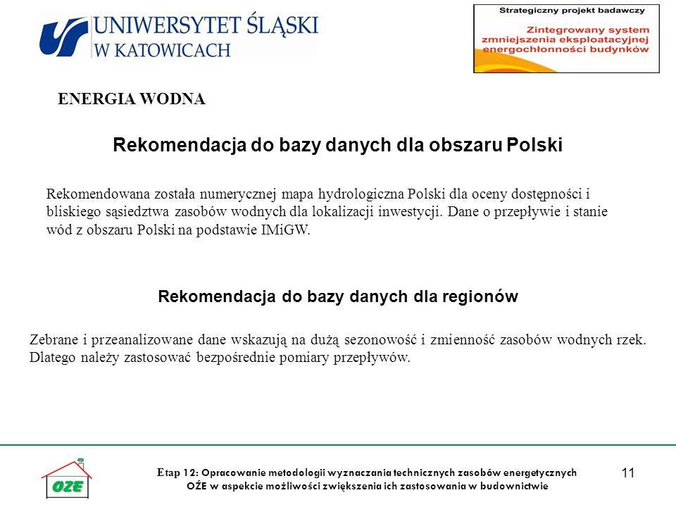 11 Etap 12: Opracowanie metodologii wyznaczania technicznych zasobów energetycznych OŹE w aspekcie możliwości zwiększenia ich zastosowania w budownictwie Rekomendacja do bazy danych dla obszaru Polski Rekomendowana została numerycznej mapa hydrologiczna Polski dla oceny dostępności i bliskiego sąsiedztwa zasobów wodnych dla lokalizacji inwestycji.