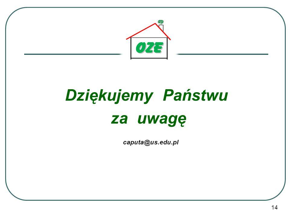 14 Dziękujemy Państwu za uwagę caputa@us.edu.pl