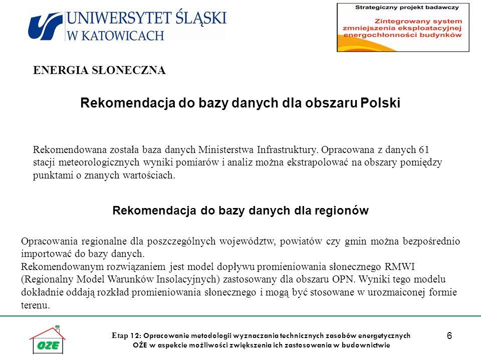 6 Etap 12: Opracowanie metodologii wyznaczania technicznych zasobów energetycznych OŹE w aspekcie możliwości zwiększenia ich zastosowania w budownictwie Rekomendacja do bazy danych dla obszaru Polski Rekomendowana została baza danych Ministerstwa Infrastruktury.