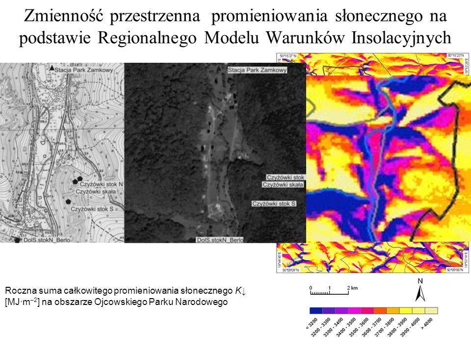 Zmienność przestrzenna promieniowania słonecznego na podstawie Regionalnego Modelu Warunków Insolacyjnych Roczna suma całkowitego promieniowania słonecznego K [MJ·m –2 ] na obszarze Ojcowskiego Parku Narodowego Na podstawie NMPT wymodelowano z rozdzielczością przestrzenną 20 m/piksel dopływ strumienia K oraz usłonecznienie możliwe.