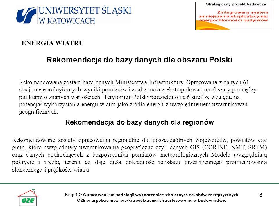 8 Etap 12: Opracowanie metodologii wyznaczania technicznych zasobów energetycznych OŹE w aspekcie możliwości zwiększenia ich zastosowania w budownictwie Rekomendacja do bazy danych dla obszaru Polski Rekomendowana została baza danych Ministerstwa Infrastruktury.