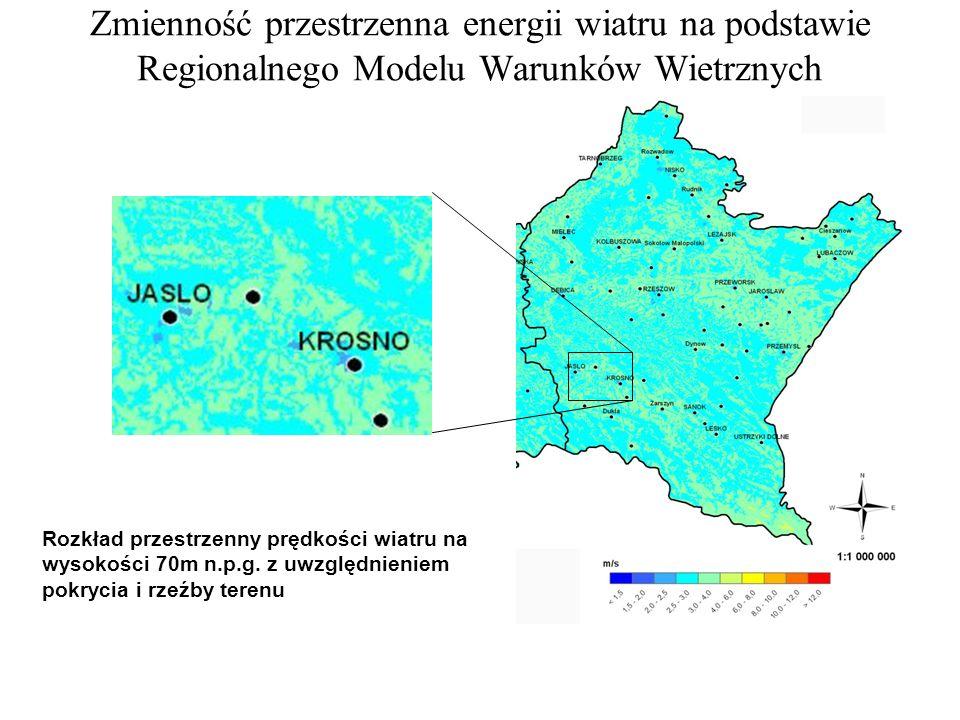 Zmienność przestrzenna energii wiatru na podstawie Regionalnego Modelu Warunków Wietrznych Dostępne narzędzia gospodarki energetycznej na poziomie lokalnych samorządów Rozkład przestrzenny prędkości wiatru na wysokości 70m n.p.g.