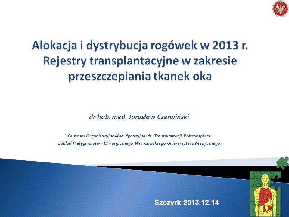 Zasady alokacji i dystrybucji (przypomnienie) Wyniki alokacji i dystrybucji rogówki (lipiec – sierpień 2013) Rejestry transplantacyjne dziś Rejestry transplantacyjne plany Podsumowanie