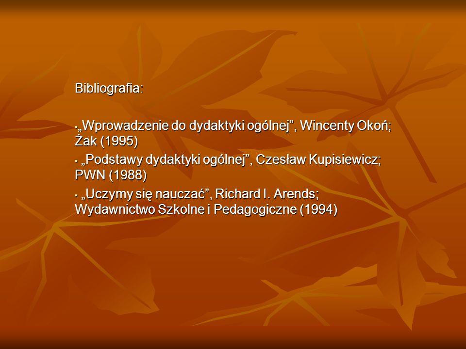 Bibliografia: Wprowadzenie do dydaktyki ogólnej, Wincenty Okoń; Żak (1995)Wprowadzenie do dydaktyki ogólnej, Wincenty Okoń; Żak (1995) Podstawy dydakt