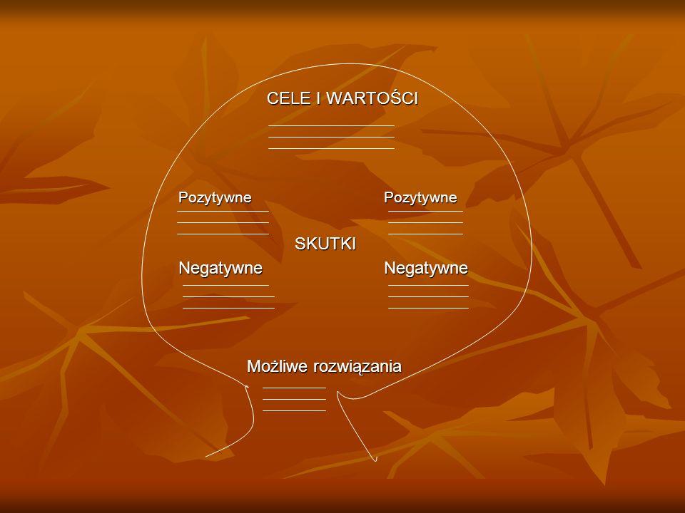 CELE I WARTOŚCI PozytywnePozytywne SKUTKI SKUTKI NegatywneNegatywne Możliwe rozwiązania