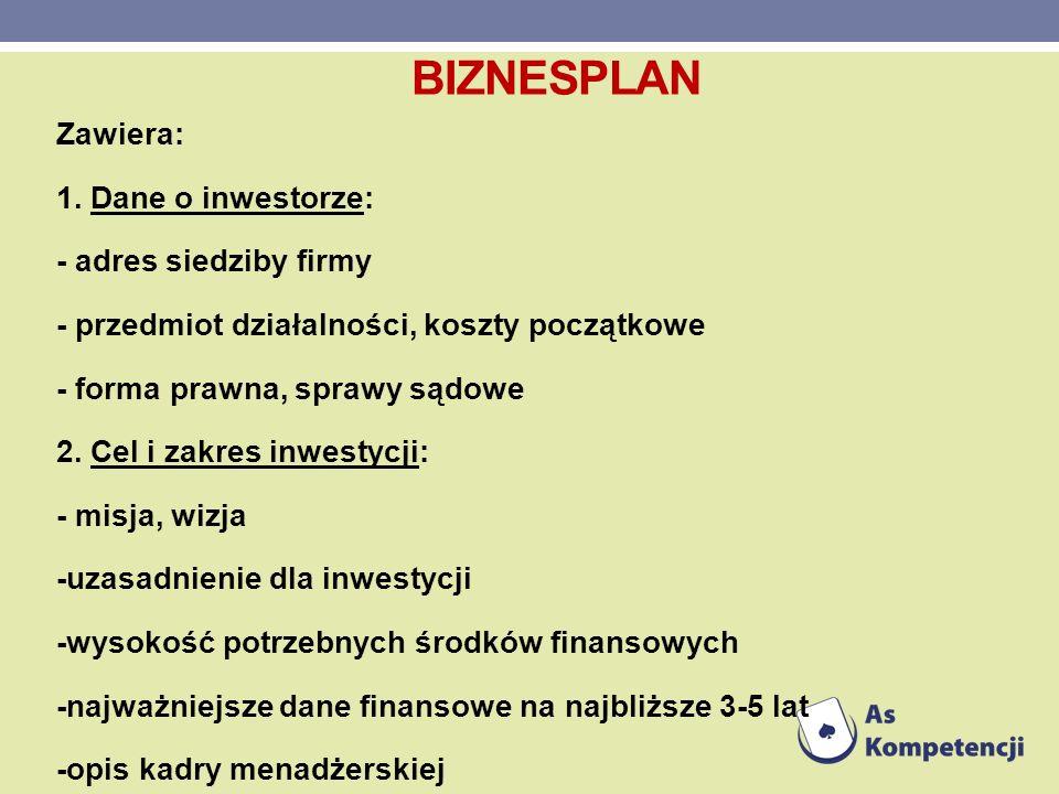 Zawiera: 1. Dane o inwestorze: - adres siedziby firmy - przedmiot działalności, koszty początkowe - forma prawna, sprawy sądowe 2. Cel i zakres inwest