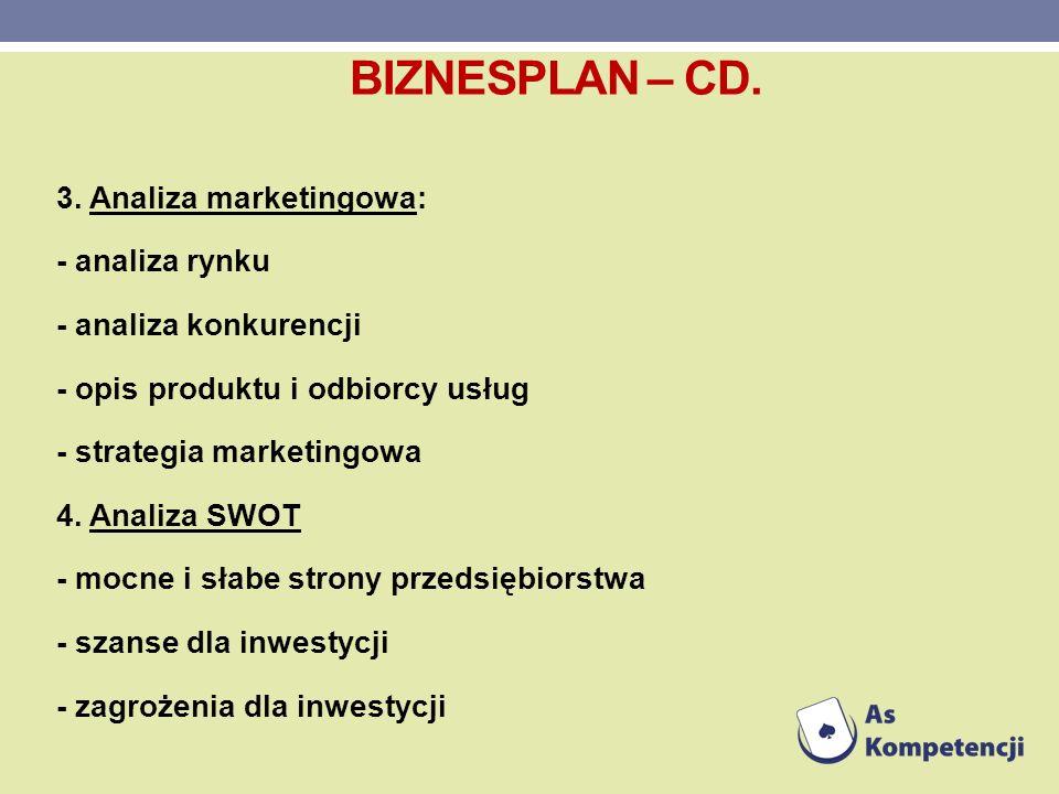 3. Analiza marketingowa: - analiza rynku - analiza konkurencji - opis produktu i odbiorcy usług - strategia marketingowa 4. Analiza SWOT - mocne i sła