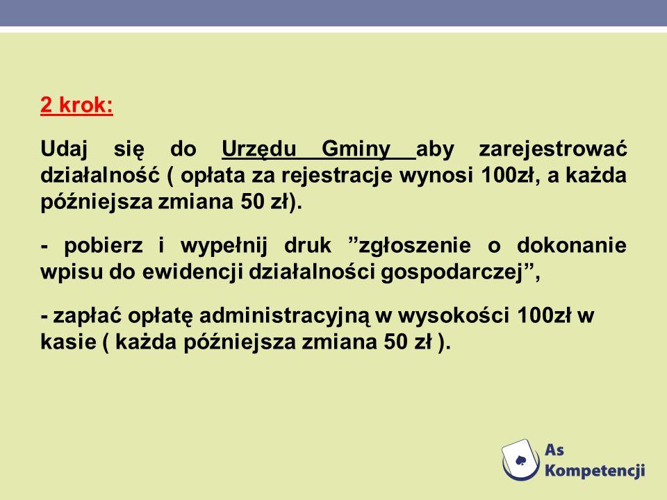 2 krok: Udaj się do Urzędu Gminy aby zarejestrować działalność ( opłata za rejestracje wynosi 100zł, a każda późniejsza zmiana 50 zł). - pobierz i wyp