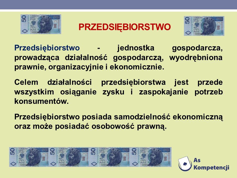 PRZEDSIĘBIORSTWO Przedsiębiorstwo - jednostka gospodarcza, prowadząca działalność gospodarczą, wyodrębniona prawnie, organizacyjnie i ekonomicznie. Ce