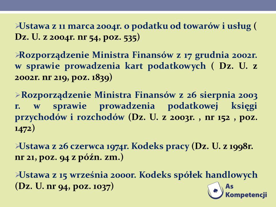 Ustawa z 11 marca 2004r. o podatku od towarów i usług ( Dz. U. z 2004r. nr 54, poz. 535) Rozporządzenie Ministra Finansów z 17 grudnia 2002r. w sprawi