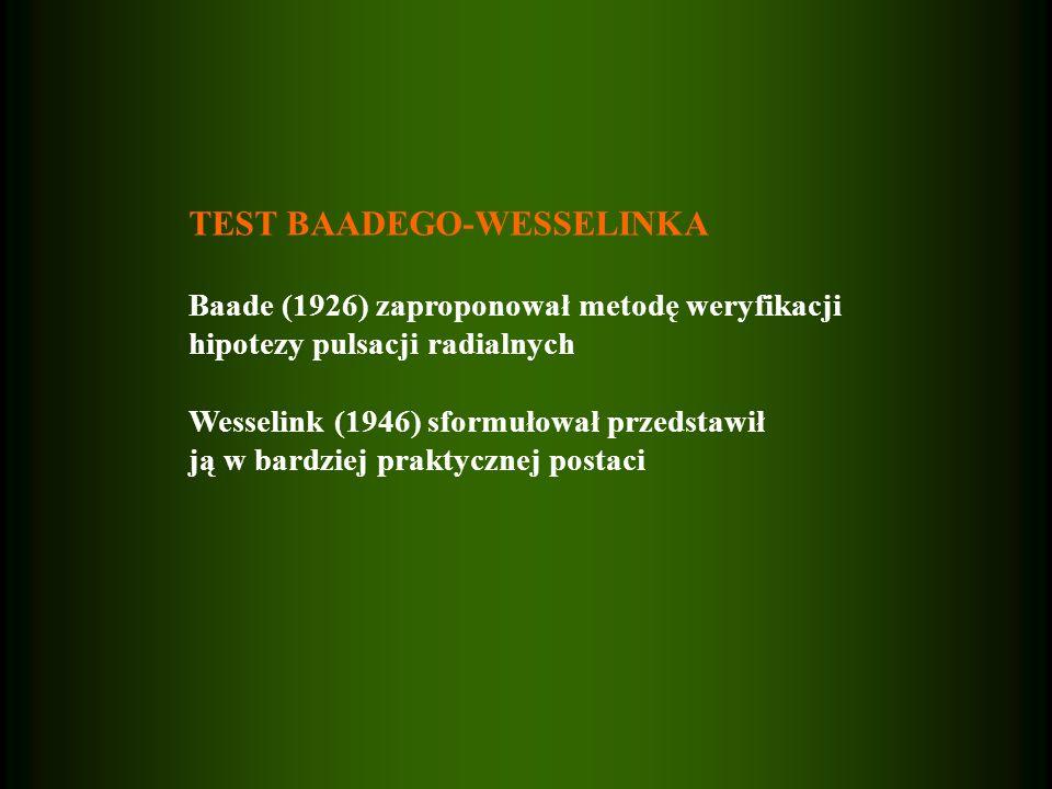 TEST BAADEGO-WESSELINKA Baade (1926) zaproponował metodę weryfikacji hipotezy pulsacji radialnych Wesselink (1946) sformułował przedstawił ją w bardziej praktycznej postaci