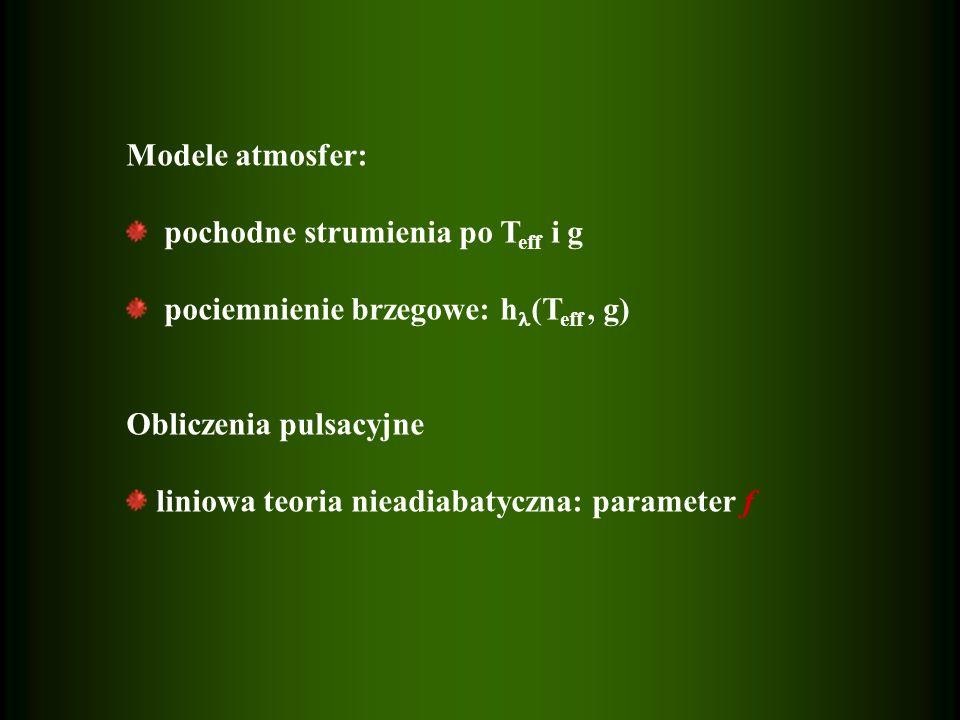 Modele atmosfer: pochodne strumienia po T eff i g pociemnienie brzegowe: h (T eff, g) Obliczenia pulsacyjne liniowa teoria nieadiabatyczna: parameter f
