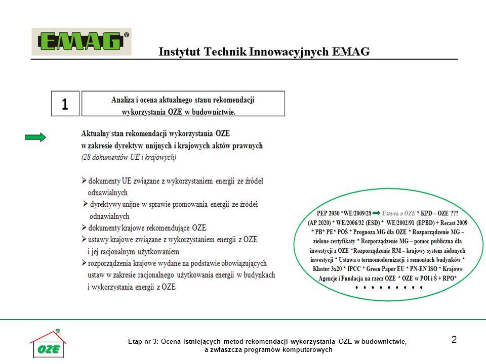 3 Etap nr 3: Ocena istniejących metod rekomendacji wykorzystania OZE w budownictwie, a zwłaszcza programów komputerowych