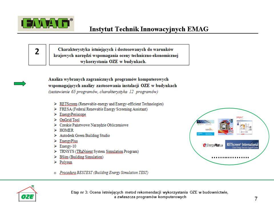 Etap nr 3: Ocena istniejących metod rekomendacji wykorzystania OZE w budownictwie, a zwłaszcza programów komputerowych 7