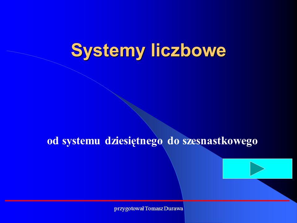Systemy liczbowe od systemu dziesiętnego do szesnastkowego przygotował Tomasz Durawa