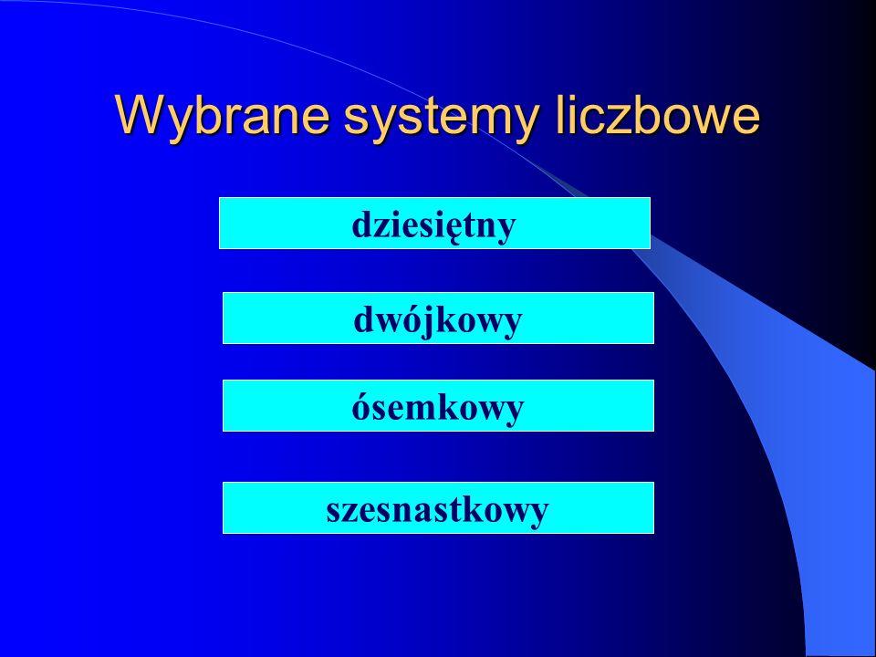 Wybrane systemy liczbowe dziesiętny dwójkowy ósemkowy szesnastkowy