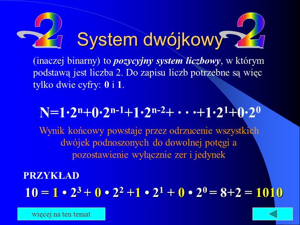 System dwójkowy (inaczej binarny) to pozycyjny system liczbowy, w którym podstawą jest liczba 2. Do zapisu liczb potrzebne są więc tylko dwie cyfry: 0