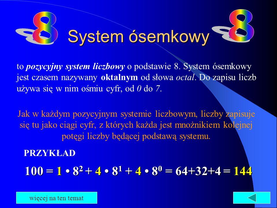 System ósemkowy to pozycyjny system liczbowy o podstawie 8. System ósemkowy jest czasem nazywany oktalnym od słowa octal. Do zapisu liczb używa się w