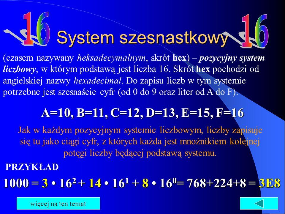System szesnastkowy (czasem nazywany heksadecymalnym, skrót hex) – pozycyjny system liczbowy, w którym podstawą jest liczba 16. Skrót hex pochodzi od