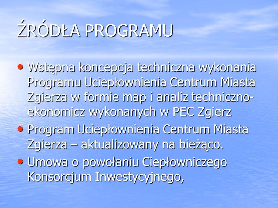 ŹRÓDŁA PROGRAMU Wstępna koncepcja techniczna wykonania Programu Uciepłownienia Centrum Miasta Zgierza w formie map i analiz techniczno- ekonomicz wykonanych w PEC Zgierz Wstępna koncepcja techniczna wykonania Programu Uciepłownienia Centrum Miasta Zgierza w formie map i analiz techniczno- ekonomicz wykonanych w PEC Zgierz Program Uciepłownienia Centrum Miasta Zgierza – aktualizowany na bieżąco.