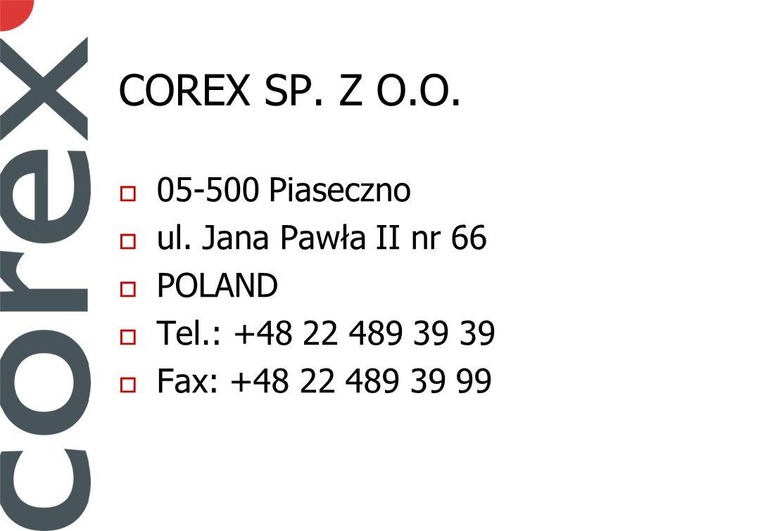 COREX SP. Z O.O. 05-500 Piaseczno ul.