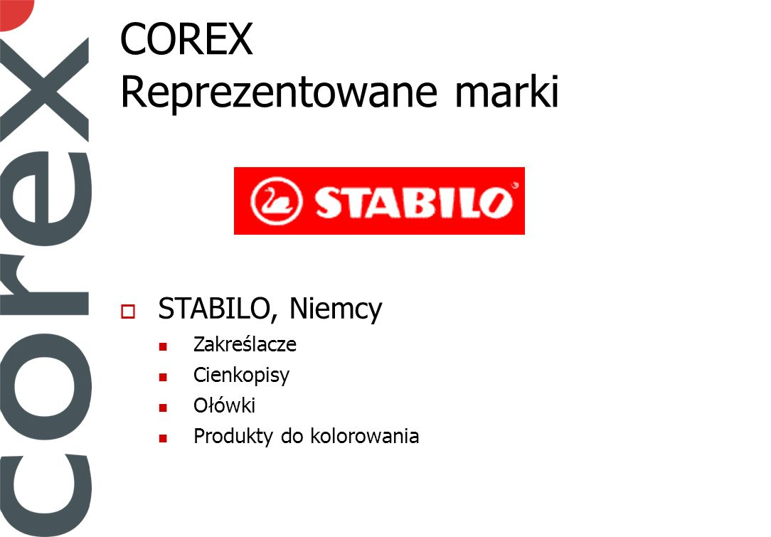 COREX Reprezentowane marki STABILO, Niemcy Zakreślacze Cienkopisy Ołówki Produkty do kolorowania