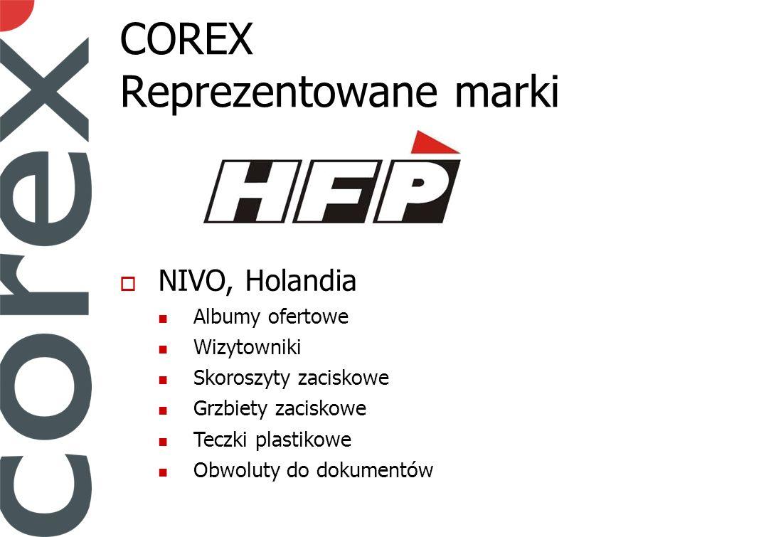 COREX Reprezentowane marki NIVO, Holandia Albumy ofertowe Wizytowniki Skoroszyty zaciskowe Grzbiety zaciskowe Teczki plastikowe Obwoluty do dokumentów