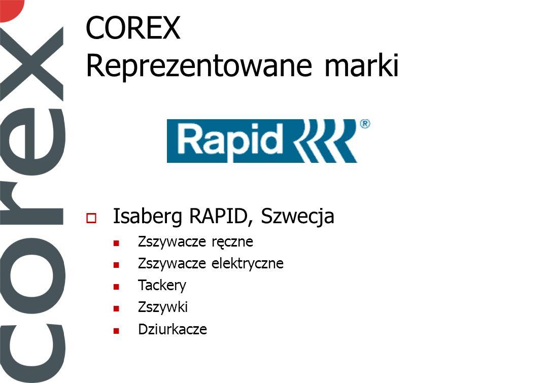 COREX Reprezentowane marki Isaberg RAPID, Szwecja Zszywacze ręczne Zszywacze elektryczne Tackery Zszywki Dziurkacze