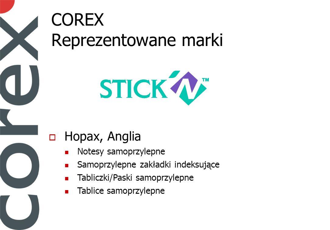 COREX Reprezentowane marki Hopax, Anglia Notesy samoprzylepne Samoprzylepne zakładki indeksujące Tabliczki/Paski samoprzylepne Tablice samoprzylepne