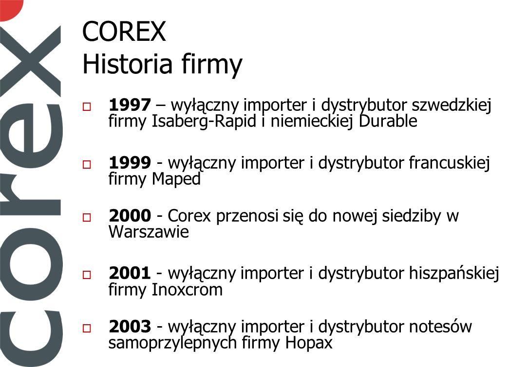 COREX Historia firmy 1997 – wyłączny importer i dystrybutor szwedzkiej firmy Isaberg-Rapid i niemieckiej Durable 1999 - wyłączny importer i dystrybutor francuskiej firmy Maped 2000 - Corex przenosi się do nowej siedziby w Warszawie 2001 - wyłączny importer i dystrybutor hiszpańskiej firmy Inoxcrom 2003 - wyłączny importer i dystrybutor notesów samoprzylepnych firmy Hopax