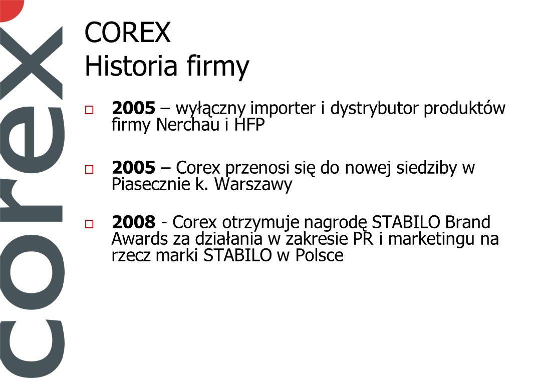 COREX Historia firmy 2005 – wyłączny importer i dystrybutor produktów firmy Nerchau i HFP 2005 – Corex przenosi się do nowej siedziby w Piasecznie k.