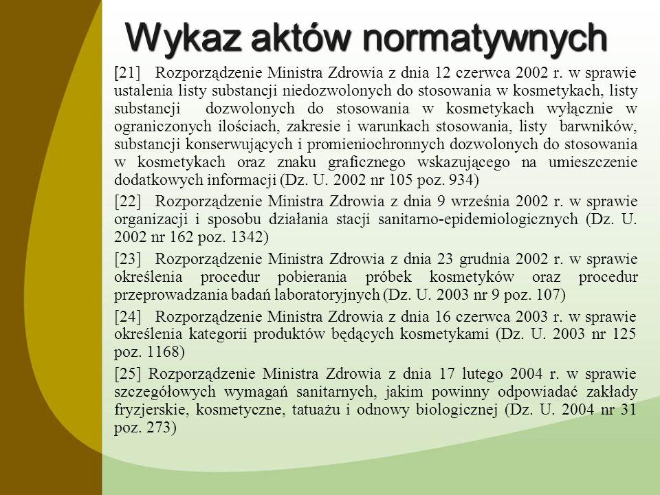 Wykaz aktów normatywnych [ 21]Rozporządzenie Ministra Zdrowia z dnia 12 czerwca 2002 r. w sprawie ustalenia listy substancji niedozwolonych do stosowa