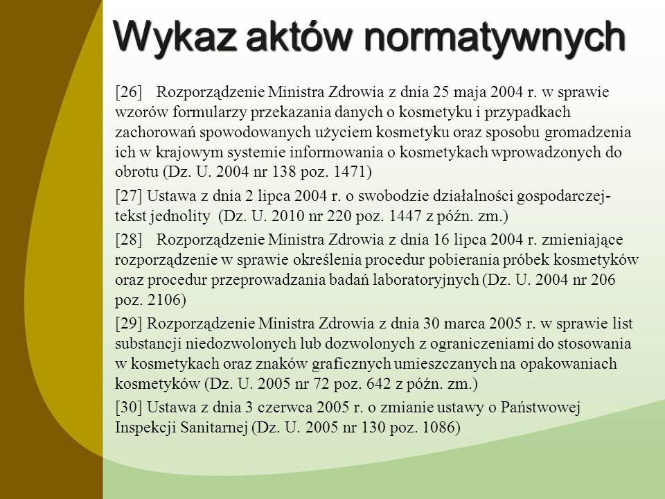 Wykaz aktów normatywnych [26]Rozporządzenie Ministra Zdrowia z dnia 25 maja 2004 r. w sprawie wzorów formularzy przekazania danych o kosmetyku i przyp