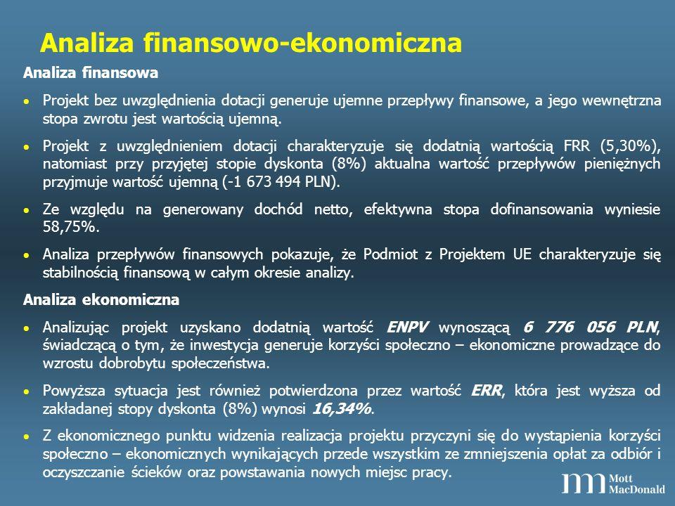 Analiza finansowo-ekonomiczna Analiza finansowa Projekt bez uwzględnienia dotacji generuje ujemne przepływy finansowe, a jego wewnętrzna stopa zwrotu jest wartością ujemną.