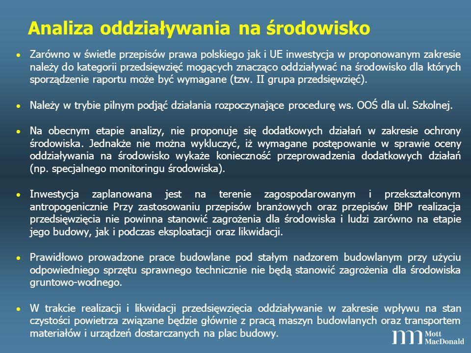 Analiza oddziaływania na środowisko Zarówno w świetle przepisów prawa polskiego jak i UE inwestycja w proponowanym zakresie należy do kategorii przedsięwzięć mogących znacząco oddziaływać na środowisko dla których sporządzenie raportu może być wymagane (tzw.
