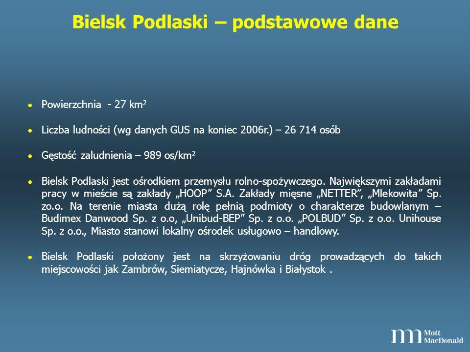 Bielsk Podlaski – podstawowe dane Powierzchnia - 27 km 2 Liczba ludności (wg danych GUS na koniec 2006r.) – 26 714 osób Gęstość zaludnienia – 989 os/km 2 Bielsk Podlaski jest ośrodkiem przemysłu rolno-spożywczego.