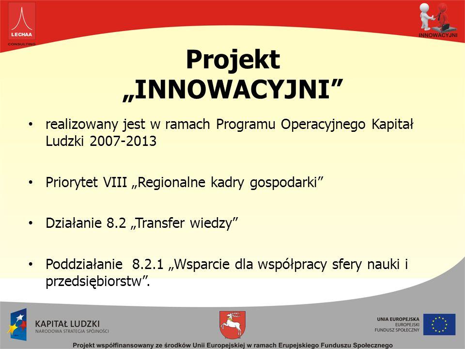 Projekt INNOWACYJNI realizowany jest w ramach Programu Operacyjnego Kapitał Ludzki 2007-2013 Priorytet VIII Regionalne kadry gospodarki Działanie 8.2 Transfer wiedzy Poddziałanie 8.2.1 Wsparcie dla współpracy sfery nauki i przedsiębiorstw.