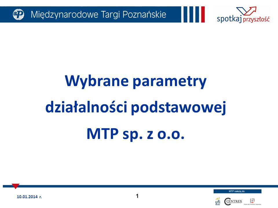 1 Wybrane parametry działalności podstawowej MTP sp. z o.o. 10.01.2014 r.