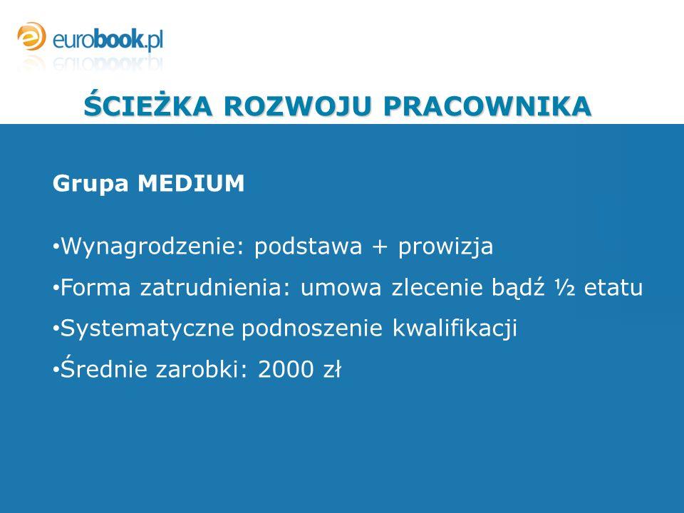 Grupa MEDIUM Wynagrodzenie: podstawa + prowizja Forma zatrudnienia: umowa zlecenie bądź ½ etatu Systematyczne podnoszenie kwalifikacji Średnie zarobki