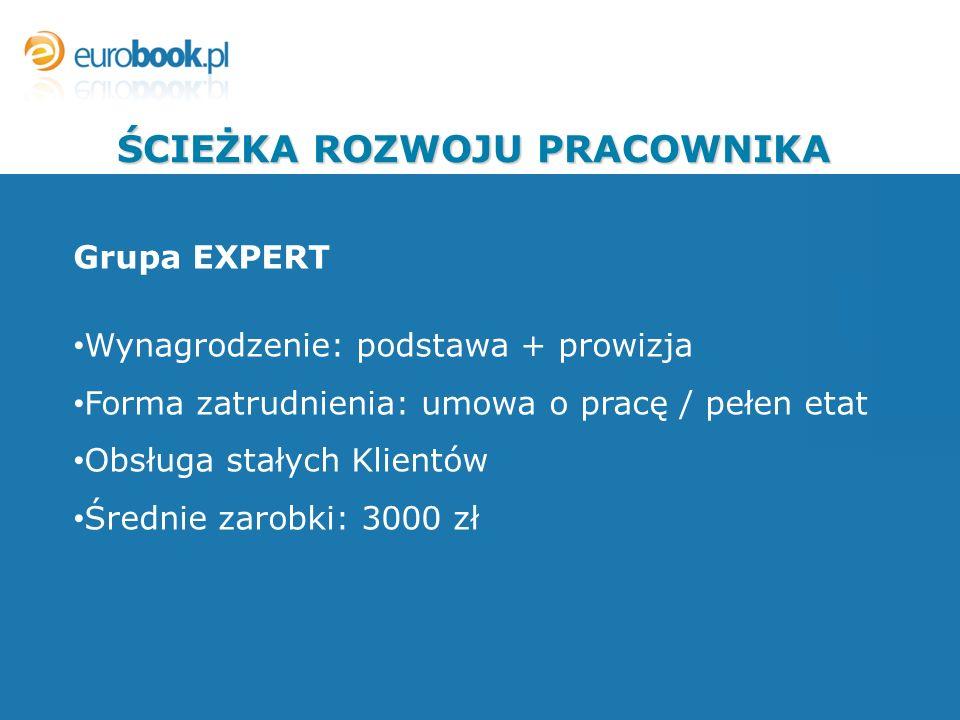 Grupa EXPERT Wynagrodzenie: podstawa + prowizja Forma zatrudnienia: umowa o pracę / pełen etat Obsługa stałych Klientów Średnie zarobki: 3000 zł ŚCIEŻ