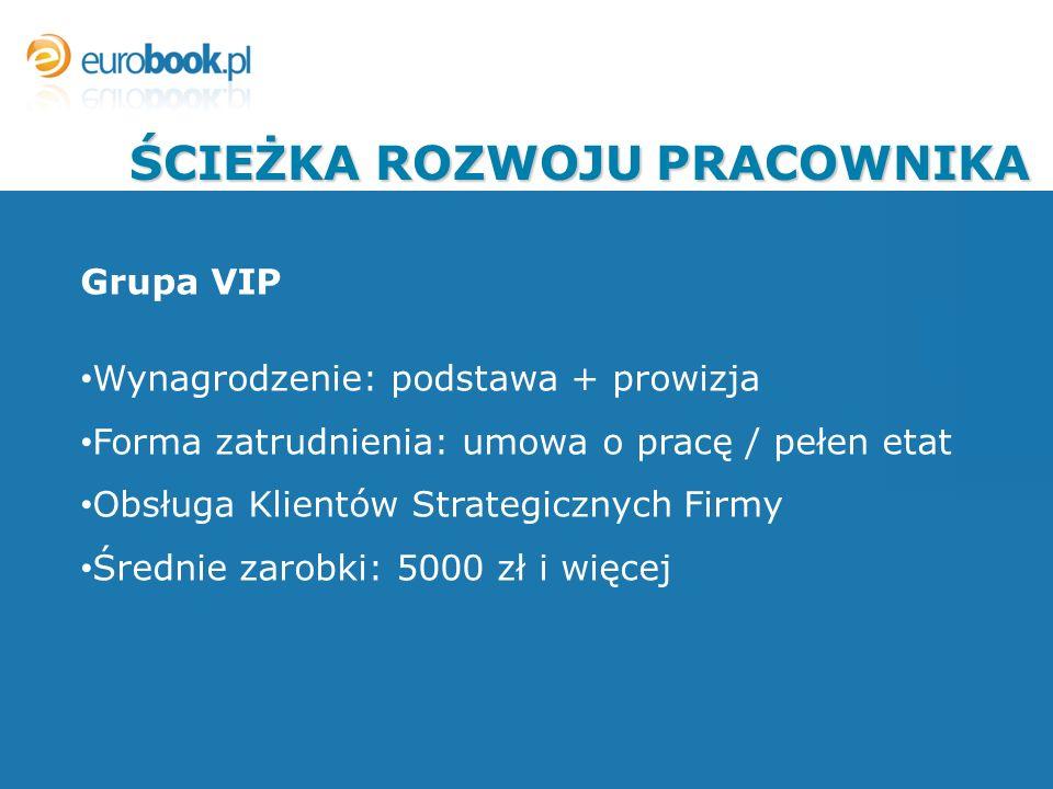 Grupa VIP Wynagrodzenie: podstawa + prowizja Forma zatrudnienia: umowa o pracę / pełen etat Obsługa Klientów Strategicznych Firmy Średnie zarobki: 500