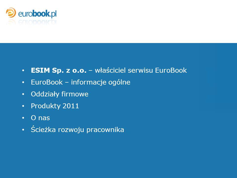 ESIM Sp. z o.o. – właściciel serwisu EuroBook EuroBook – informacje ogólne Oddziały firmowe Produkty 2011 O nas Ścieżka rozwoju pracownika