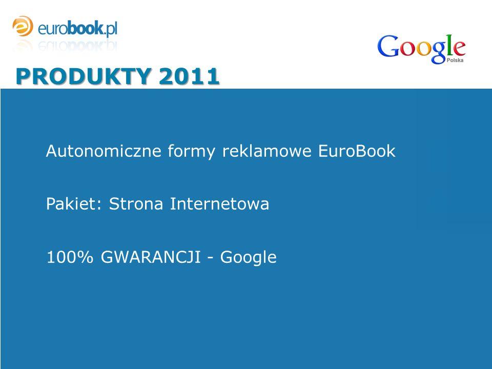 PRODUKTY 2011 Autonomiczne formy reklamowe EuroBook Pakiet: Strona Internetowa 100% GWARANCJI - Google