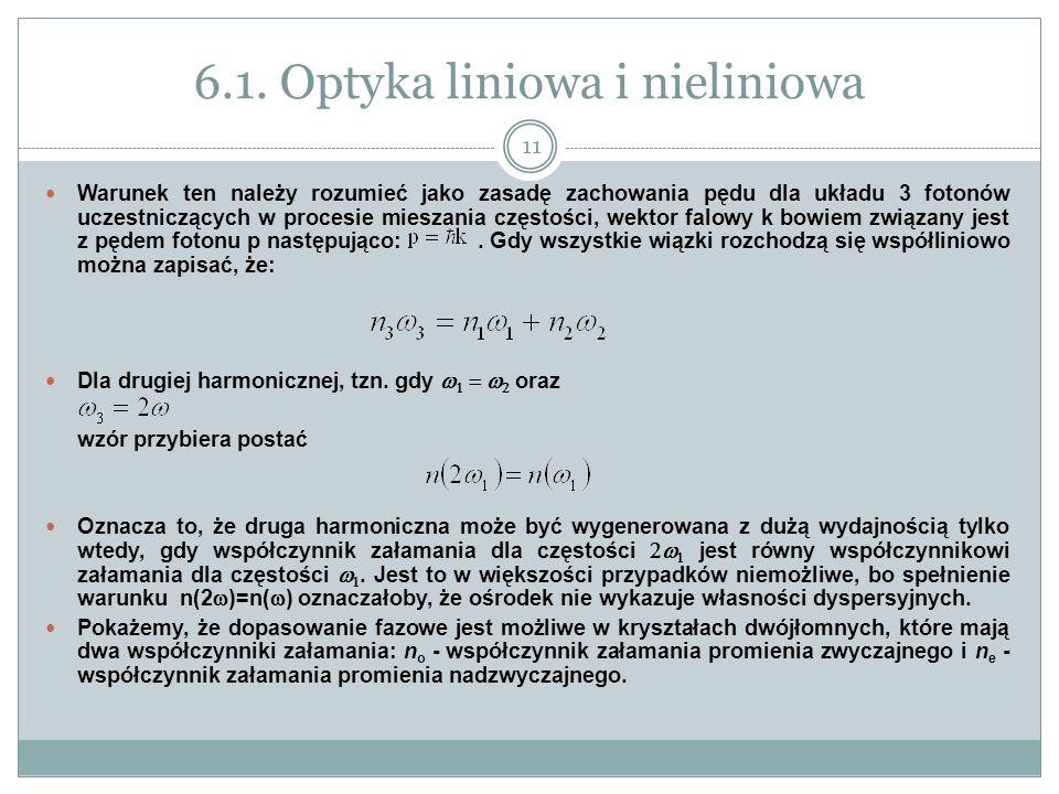6.1. Optyka liniowa i nieliniowa Warunek ten należy rozumieć jako zasadę zachowania pędu dla układu 3 fotonów uczestniczących w procesie mieszania czę