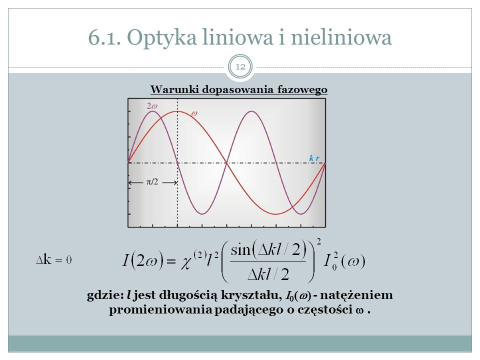 6.1. Optyka liniowa i nieliniowa Warunki dopasowania fazowego gdzie: l jest długością kryształu, - natężeniem promieniowania padającego o częstości. 1