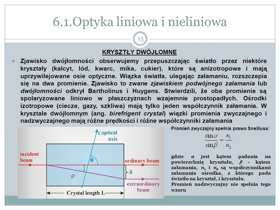 6.1.Optyka liniowa i nieliniowa KRYSZTŁY DWÓJŁOMNE Zjawisko dwójłomności obserwujemy przepuszczając światło przez niektóre kryształy (kalcyt, lód, kwa